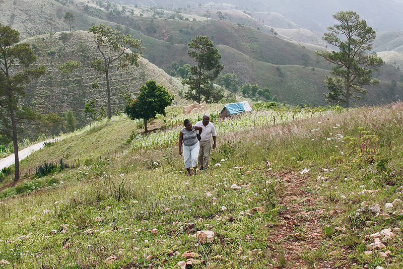 Haitian Hills Team members from Plant With Purpose Haiti survey the hills.