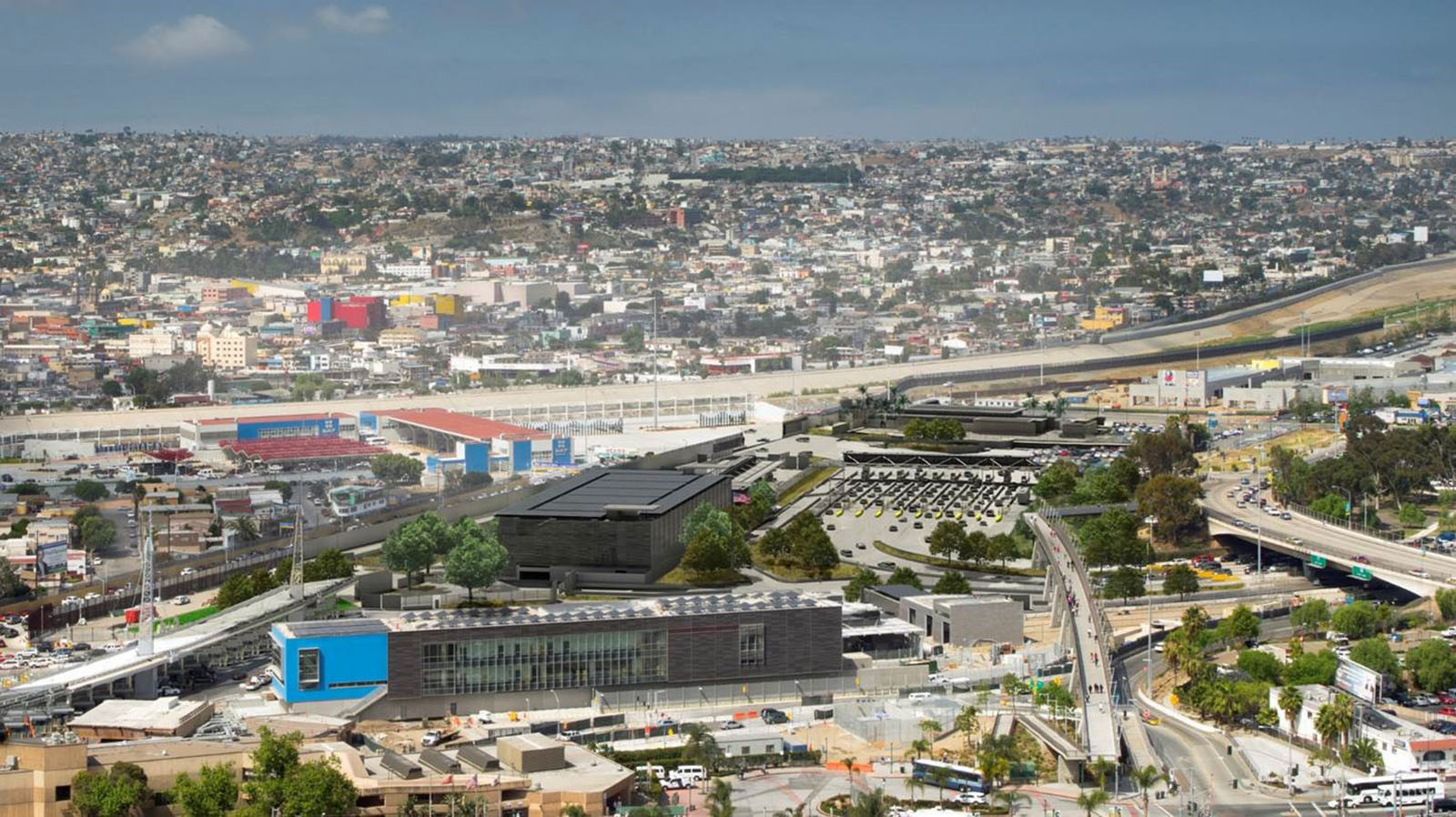 Traffic congestion in San Ysidro produces large amounts of air pollution.