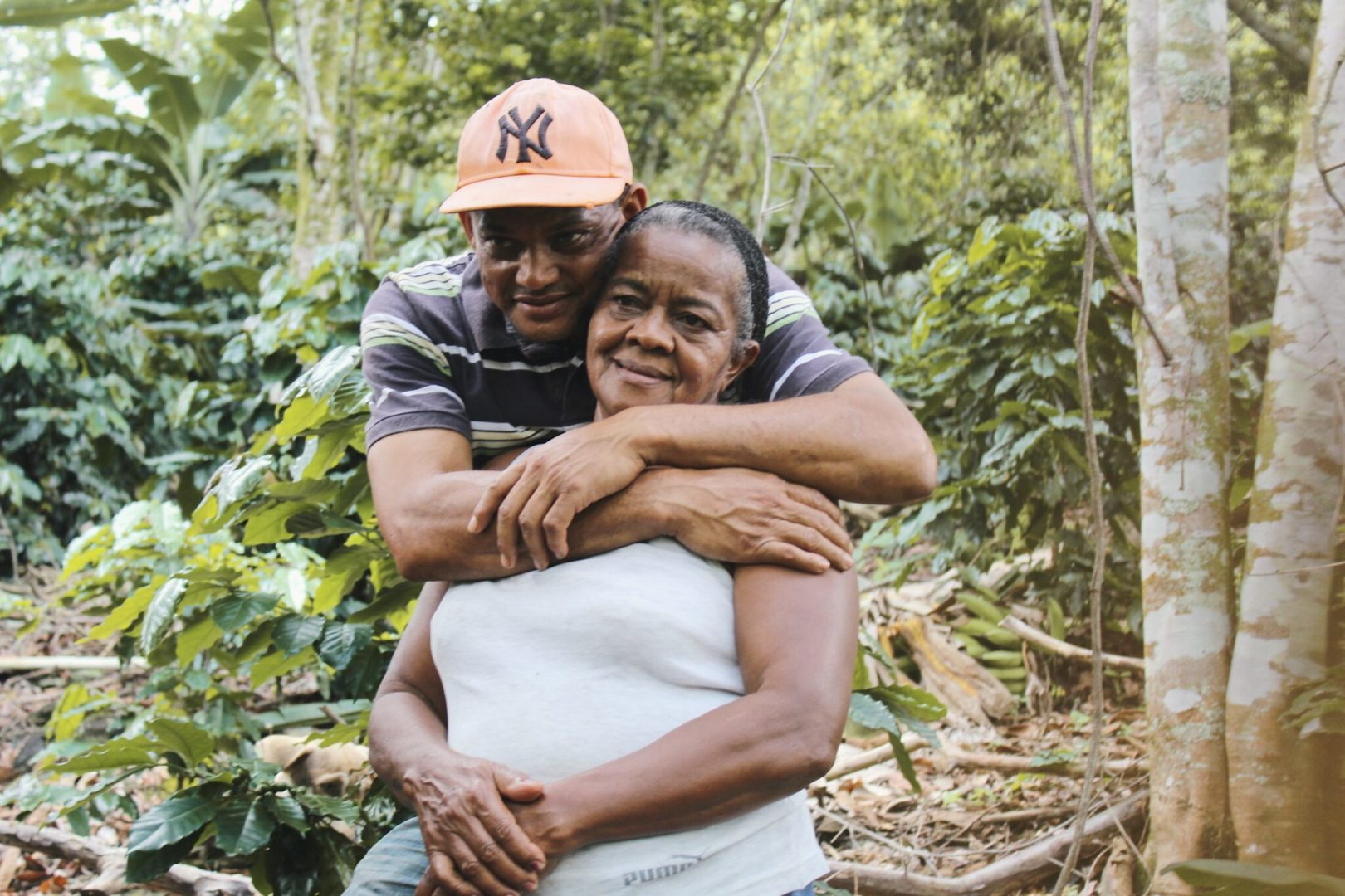 Cosme shares a moment with his mother.
