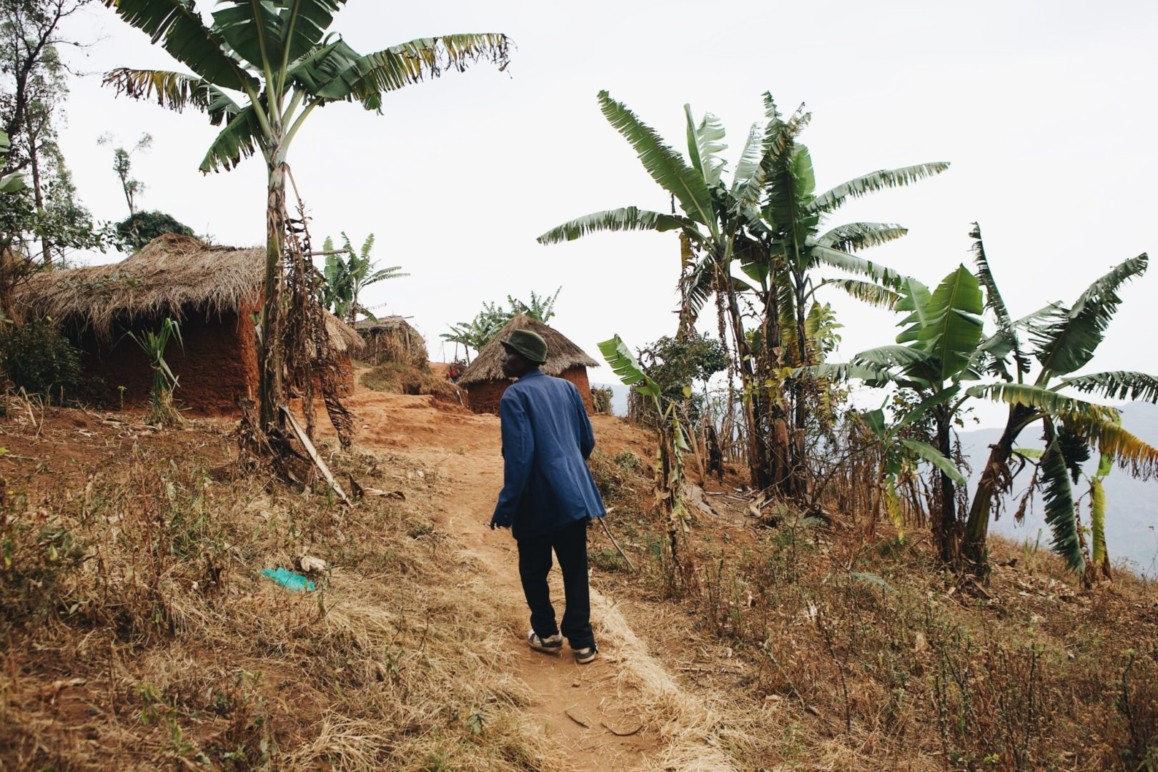 An elder walks to his village in the Congo.