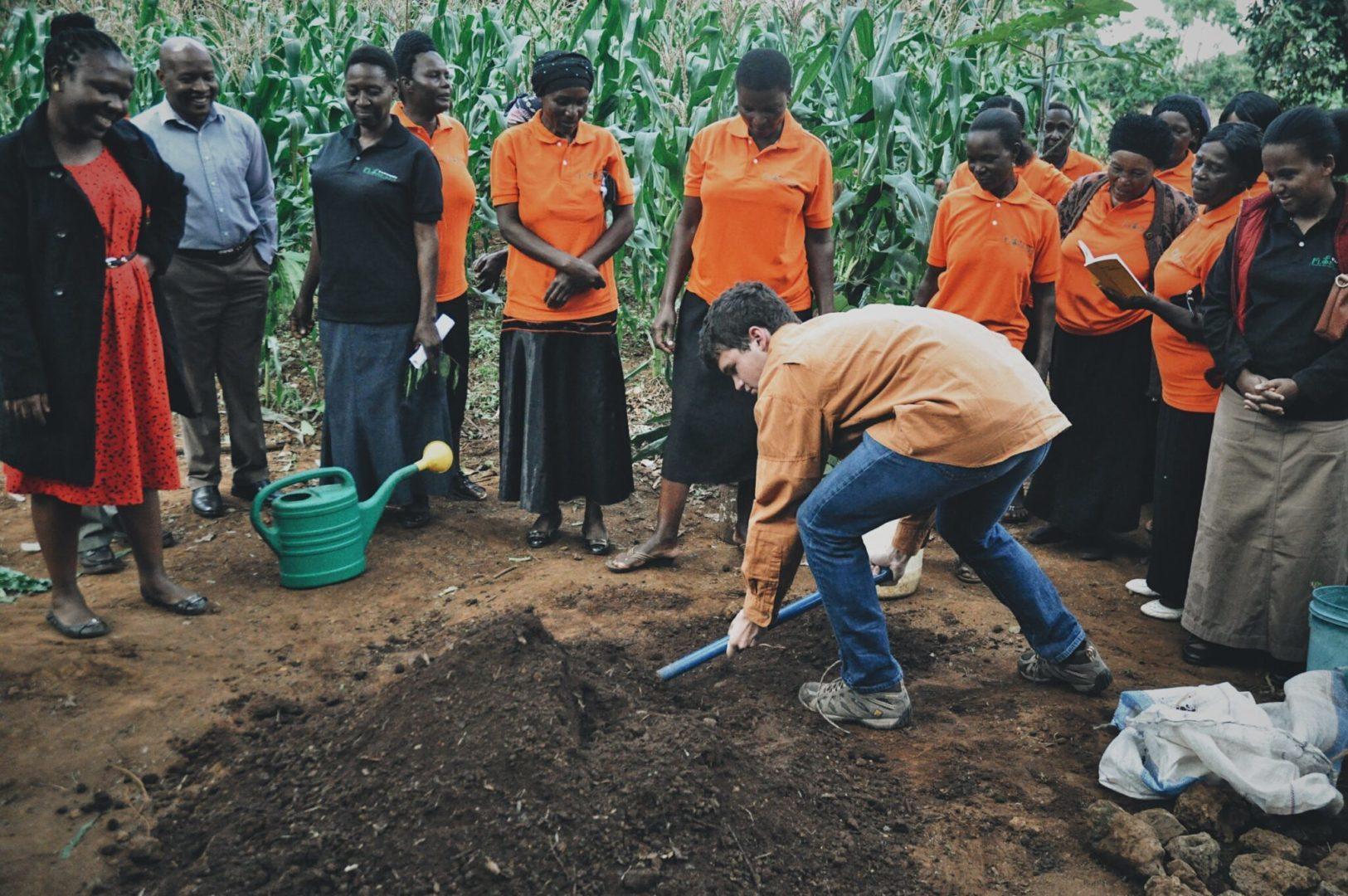 Preparing the soil for a sack garden
